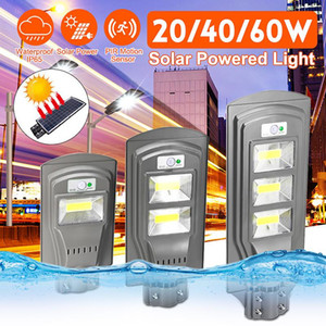 Luz de calle solar LED de COB 20W 40W 60W Super brillante Lámpara de pared Sensor de movimiento Lámpara de seguridad impermeable para el patio de jardín