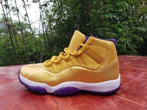 Desconto de 11 11s tênis de basquete alta Mens Número 24 brancos roxo 11s ouro Sports Shoes Tamanho 40-47