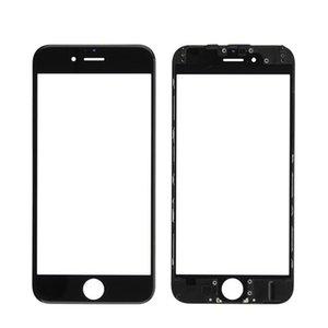 Для iPhone 5S 5C 6 6S 7 8 Plus Передних сенсорного экрана Панели Outer Glass Lens + Cold Press Средней Рамка рамка + ОСА Установленной