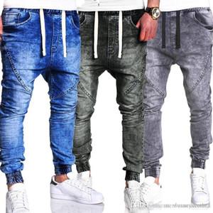 Harem Jeans Schwarz Blau-elastische Taillen-Hiphop-beiläufige lose Jeans Washed Herren Designer