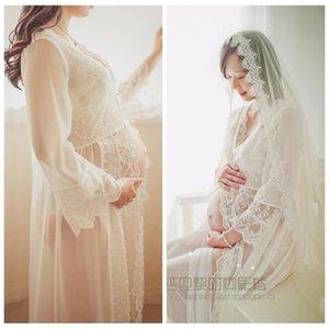 maternity photo Women Pregnants Fashion Photography Maternity Long Sleeves V-Neck Solid Lace Long Dress abiti donna incinta