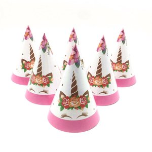 10pc set New Unicorn Theme Girls Birthday Party Paper Caps Kids Event & Party Disposable Cartoon Caps Hats Decoration Supply