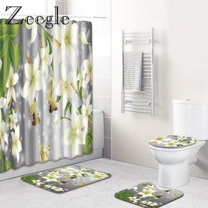 Blumenmuster Duschvorhang Badematten Set Anti-Rutsch-Matten für Badezimmer WC Bodenvorleger Lustige Badeteppiche für Badezimmer