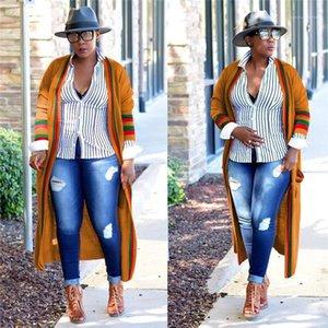 Lungo Womens Outerwear nastro Plus Size molla delle signore del progettista Cardigan Cappotti femminile Abbigliamento Rosso Verde Stripe