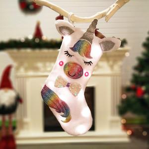 2019 NEW Unicorn Christmas Socks Hanging Stocking Socken für Kamin Cute Unicorn Christmas Candy Geschenk Taschen Christbaumschmuck Dekore