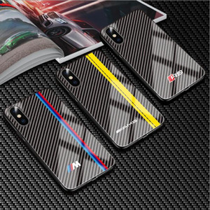 شعار سيارة ماركات فاخرة غلاف هاتف زجاجي مخفف ل Iphone SE 2020 11 Pro Max XS XR MAX X 8 7 6S Plus
