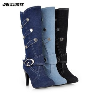WEINUOTE Осень Зима Женщины моды Denim Boots Узелок колено высокие сапоги на высоком каблуке Combat Езда Обувь Плюс Размер Bottes Femmes