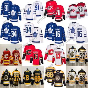 NHL Toronto Maple Leafs John Tavares Calgary Flames Auston Matthews Boston Bruins Patrice Bergeron Hurricanes Aho maillots de hockey