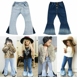 Fashion Baby Girls Jeans Toddler Kids Bell-Bottoms Pants Spring Autumn Children Denim Wide Leg Jeans Trousers 2-7 Ages