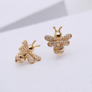 New fashion carino studente orecchini ape femminile sterling silver ago carino piccolo animale cristallo orecchini a rombo orecchini selvatici personalità