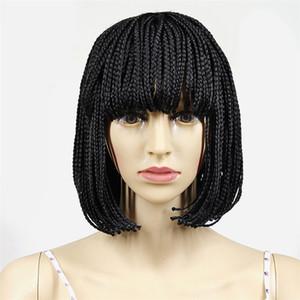 En gros Pas Cher Ventes Inventor Micro Tresse Perruques Pour Les Femmes Noires Perruques Cheveux Synthétiques Kanelakon Naturel Noir Tissage Courte Perruque Afro Boîte Tresse