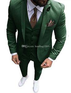 Alta Qualidade Um Botão verde escuro Noivo Smoking Notch lapela Groomsmen Mens ternos de casamento / Prom / Jantar Blazer (jaqueta + calça + Vest + Tie) K122