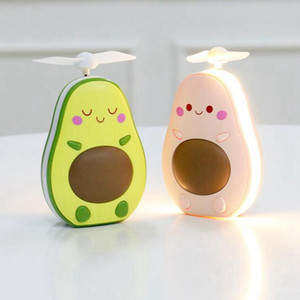 Avocado Fan Cartoon Tragbare wiederaufladbare Mini-USB-Kinder Hand Fans mit Lichtspiegel-Party Favor OOA8011