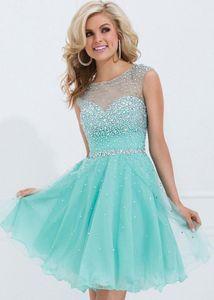 2019 Новое очаровательное A-Line короткое синее платье для выпускного вечера Вечернее платье Выпускное платье на заказ Выпускные платья для вечеринок Full Crystals Vestidos