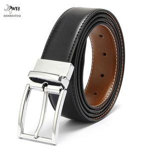 Calidad superior de cuero genuino cinturón reversible de alta calidad de la hebilla de cinturón reversible para los hombres para hombres libera el envío