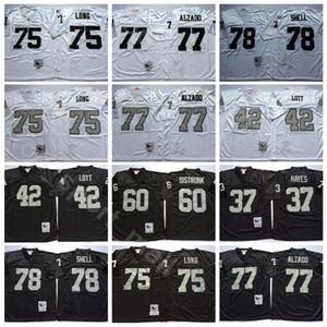 NCAA Football 75 Howie Long 37 Lester Hayes 42 Ronnie Lott maglie 77 Lyle Alzado 78 Art Shell Bo Jackson Uomo Nero Bianco Vintage