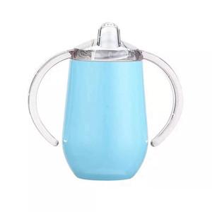 Paslanmaz Çelik Bebek Yumurta Mug 10oz Sippy Sap Vakumlu İzoleli Sızdırmazlık Seyahat Kupası U Şeklinde beslenme biberon Süt Tumbler LJJA4133