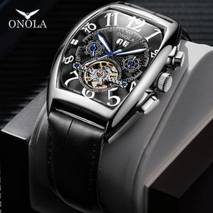 ONOLA Brand Automatic Mechanical Men Watch 2019 Fashion Business wristwatch Unique Leather Belt high grade Gift Watch men BOX