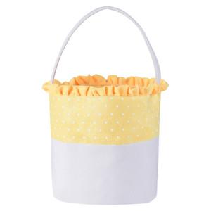 10styles Dot panier de Pâques Lapin Seaux dentelle toile lapin de Pâques rayé vague Sacs Paniers enfants Bonbons fourre-tout cadeau Sacs à main GGA3195