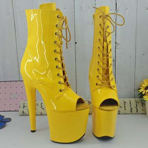 Leecabe Shinny Yellow 20CM 8Inch Women's Platform Sandals party High Heels Shoes Pole Dance boot