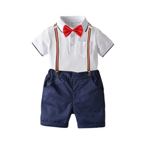 New children's clothing suit boys college wind gentleman bow tie cotton short-sleeved polo shirt strap shorts four-piece