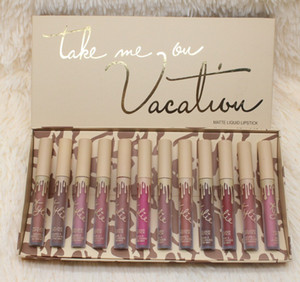Dropshipping HOT new makeup Jenner Cosmetics vacation edition Take Me On Vacation 12pcs   box matte liquid lipstick set