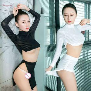 Sexy Women Stripe Zipper Open High Cut Tight Pencil Cute Skirt Ice Silk See Through Micro Mini Skirt Transparent Skirt With Top