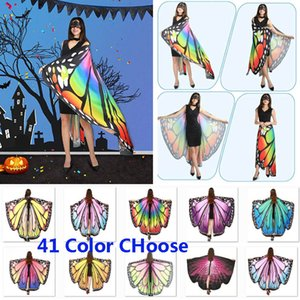 Halloween Costumes Butterfly Wings Shawl Women Fairy Decorative Accessories Wrap Printing Shawl Scarves Scarves Party Supplies HH9-2466