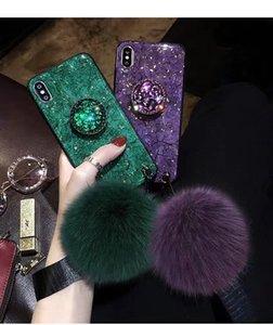 Las mujeres del teléfono de mármol Diseñador grieta Smooth Caso Iphone La bola de pelo al por mayor de moda muñeca de la mano Soporte para la correa del brillo hoja de oro caliente de lujo