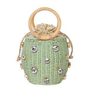 Bohemian Stroh Perlen Rattan Handmad Diamant Runde Schulter-Strand 2020 Bucket Bag Sommer Stricken Freizeit Crossbody Perlen Tasche Fbdit