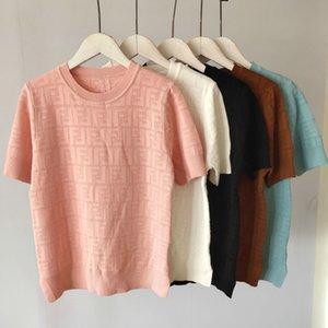 Summer Designer Women Shirts Summer Fashion Luxury Ladies Knit T-shirts Casual Brand Top Tees Girls Short Sleeve Shirt