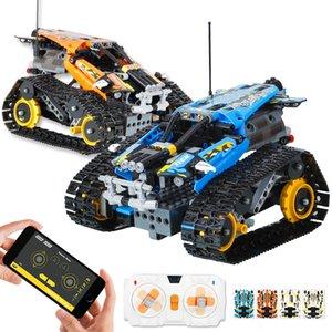 406PCS Technic RC Tracked Stunt Vehicle Creator APP Remote Control Car Building Blocks Bricks DIY Toys Gifts For Children Kids CX200706