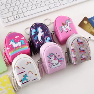 Unicorn Mini Coin Çanta çanta Anahtarlık Fermuar Küçük Çanta Karikatür Dekorasyon Anahtarlık PU Deri Çanta Aksesuar Moda Sevimli