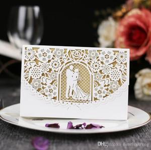 Cartão do convite da noiva e de casamento do noivo elegante com partido envelope moderna cobertura oco fora cortado a laser personalizado convida cartão