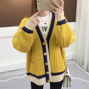 Mulheres Designer Sweater Mulher Designer Camisolas Mulher da camisola Cardigan Contraste Brasão Cor malha manga comprida Jacket coreano Causal 36412