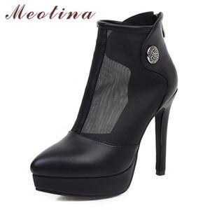 Meotina Verão botas mulheres sapatos Zipper Plataforma Fina salto Curto Botas recorte extrema sapatos de salto alto Lady Primavera tamanho grande 33-43