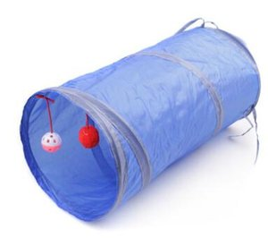 Chaîne pour chat pliable avec ballon suspendu Jeux de chat Deux tunnels de liens Maison Wisdom Drill Barrels Play