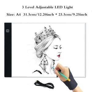 A4 led light pad Tableta gráfica A4 LED Tableta de dibujo Thin Art Stencil Tablero de dibujo Caja de luz Tabla de seguimiento de tres niveles