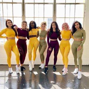 İki Adet Set Kadınlar Seksi Dikişsiz Legging Çizgili Örme Pantolon Gym Eşofman Tozluklar Egzersiz Seti Spor Fitness Giyim