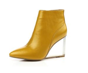 Toptan-bayan ayakkabı şeffaf takozlar yüksek topuklu ayak bileği çizmeler sivri burun yüksek topuklu çizmeler kış moda siyah ayakkabı kadın size33-41
