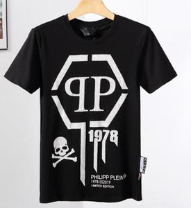 Camiseta de manga corta de la impresión del cráneo camiseta de algodón cuello redondo camiseta delgada moda jersey G122 parte superior del monopatín de los hombres de los nuevos hombres