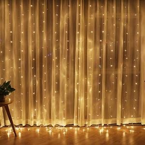 LEVOU Luz do feriado 3 * 3 m 6 * 3 m 8 * 3 m 10 * 3 M 300 600 800 1000 Leds Cortina Luzes Da Corda Jardim Lâmpadas Para O Ano Novo de Natal Festa de Casamento Decora