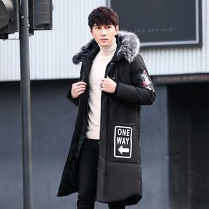 2.019 longitud grande de la piel de la chaqueta abajo cubre la chaqueta abajo los hombres de cuello de moda adecuada