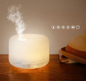 500ml 7 colores LED humidificador redondo con lámpara de aroma aceite esencial ultrasónico eléctrico USB difusor de aroma humidificador de aire Reino Unido / EE. UU./ UE enchufe al por mayor