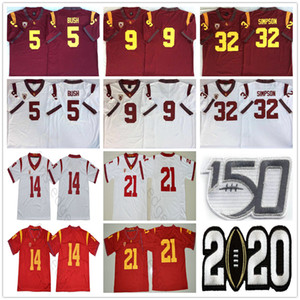 2020 NCAA USC Trojaner 5 Reggie Bush 9 Kedon Slovis 21 Jackson 14 Sam Darnold 32 OJ Simpson 43 Troy Polamalu 55 Junior Seeher Football Trikots