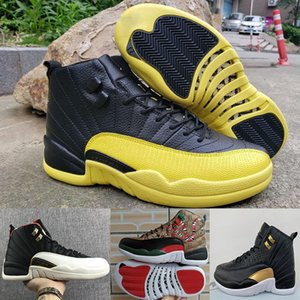 OVO 12 Casual sapatos mens Cobras sapatos de grife Preto amarelo de luxo Chicago Athletic CNY sneakers Ano Novo Chinês calçados esportivos US 7-13
