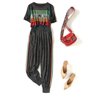Pantalones para mujer de la camiseta de dos piezas traje de diseñador de lujo de punto de seda de hielo chándales Carta de manga corta + juego de los deportes Nuevo 2020 Comercio al por mayor