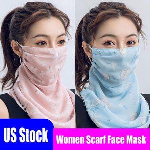 US-Stock-preiswerte Frauen-Schal-Gesichtsmaske 22 Styles aus Seidenchiffon Handkerchief Außen windundurchlässiges Half Face Staubdicht Sonnenschutz Masken FY6127