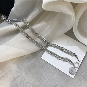 Korean Vintage Insta Style Necklace Net. Like Double Necklace Temperament Joker Alloy Golden Silver Necklace Hand Catenary