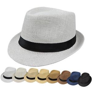 Moda Chapéus para mulheres Fedora Trilby Gangster Cap Praia Verão Sun Straw Hat Panamá com fita Banda Sunhat ZZA1005